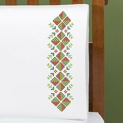Christmas Border  - STAMPED CROSS STITCH - PILLOWCASE PAIR Queen