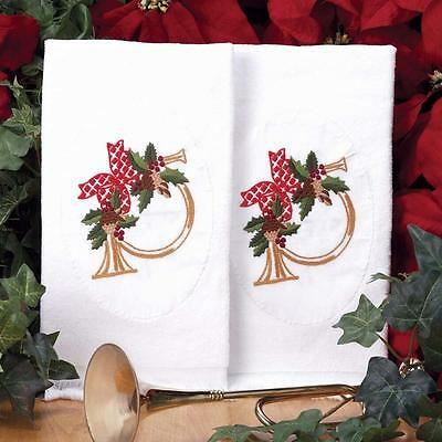 Set of 2 - Christmas Greens & Horn Guest Terry Towels  - Stamped for Embroidery