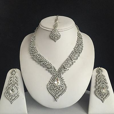 Silver Clear Indian Costume Jewellery Necklace Earrings Diamond Set Bridal New