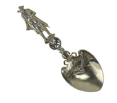 French Sterling Silver Gilt Hand Chased Napoleon Serving Spoon, 19th Century