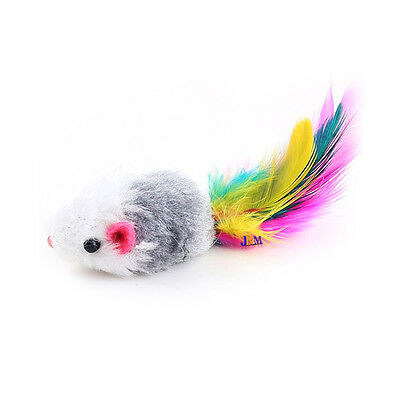 Pet Cat Funny Fake Rat Mouse With Colorful Feather Mini Soft Playing Fun Toy