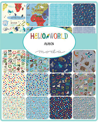 Patchwork/quilting Fabric Moda Charm Squares/packs - Hello World