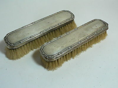Pair of Vintage HM Sterling Silver Topped Clothes Brushes