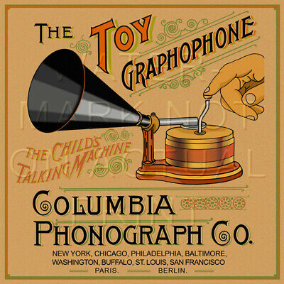 "17"" X 17"" Columbia Toy Graphophone Crate Label Reproduced on Graphic Canvas"