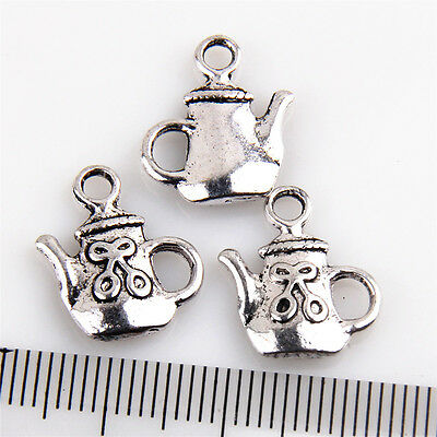 150-10Pcs Teapot #7 Antique Silver Charms Wine Pot Flask For DIY Making