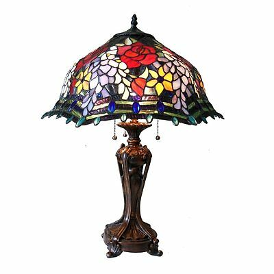 "Table Lamp 3 Light Stained Glass Tiffany Victorian Vintage Styl Handcrafted 20""D"