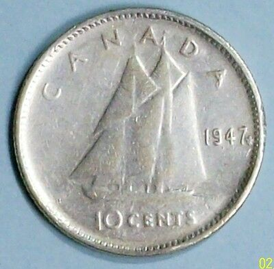 Canada 10 Cents 1947 Very Fine 0.8000 Silver Coin