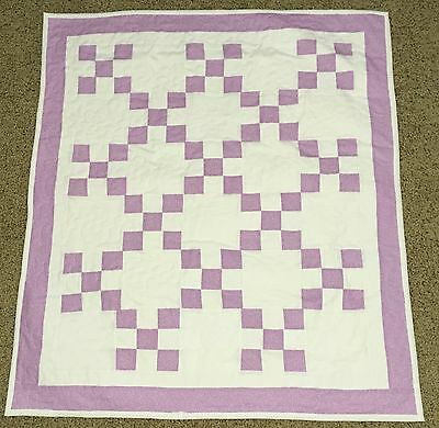 New Handcrafted Cotton Lilac/White Irish Chain Baby Quilt