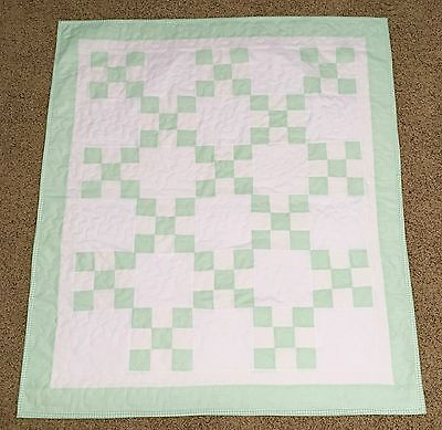 New Handcrafted Cotton Mint Green/White Irish Chain Baby Quilt