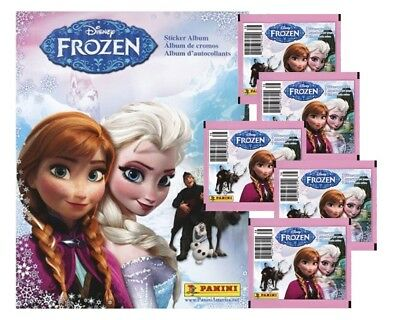 Panini Disney Frozen Album Stickers, lot of 5 Unopened Packs, plus Album