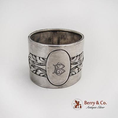 German 800 Standard Silver Foliate Napkin Ring 1900