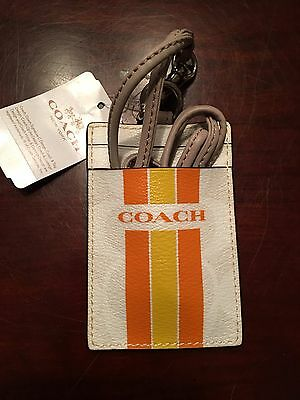 NWT Coach Varsity Lanyard ID Case in Chalk/Orange F 66462