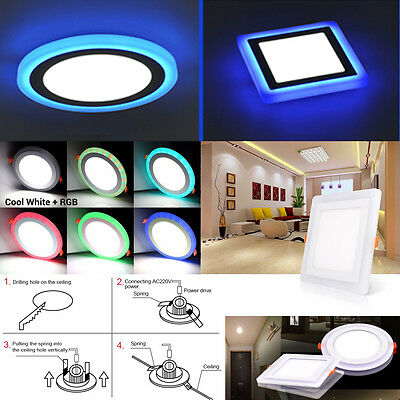 Ultra Slim 6/9/18/24W LED Recessed Ceiling Panel Downlight Spot Light Dual Color