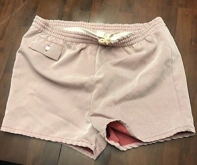 Vtg 50's Towncraft Penny's Swim Trunks~Mauve And White Thin Stripes