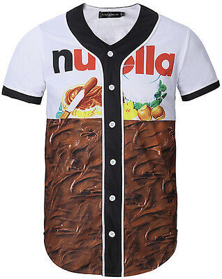 Unisex 3D Contrast Chocolate Print Breathable Dance Baseball Collar Shirt Jersey