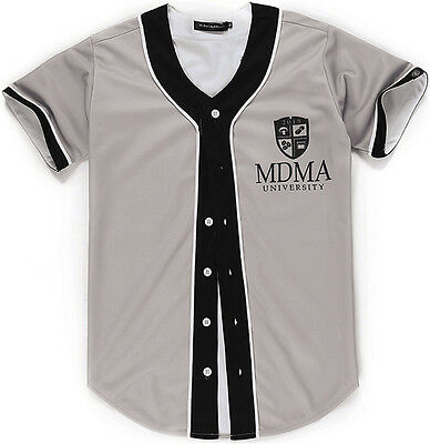 Unisex 3D Front Logo MDMA Print Breathable Dance Baseball Collar Shirts Jersey