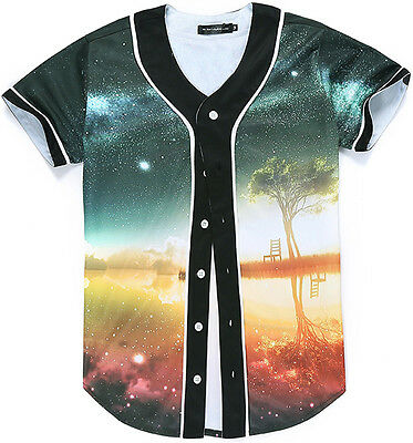 Unisex 3D Colorful Lake Galaxy Print Breathable Dance Baseball Tops Shirt Jersey
