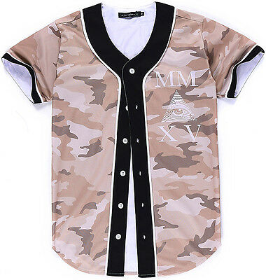 Unisex 3D Camouflage Eye Print Breathable Dance Baseball Collar Tee Shirt Jersey