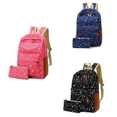 2Pcs Women Fashion Canvas School Bag Girl Backpack Travel Rucksack Shoulder Bag