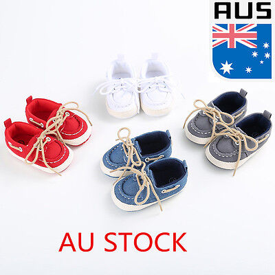 Baby Girls Boys Canvas Shoes Soft Flat Casual Toddler Lace-Up Boat Sneaker 11-13