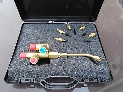 Model O Lead Burning Gas Torch Kit c/w Case & Tips Brazing Jewellers etc E117