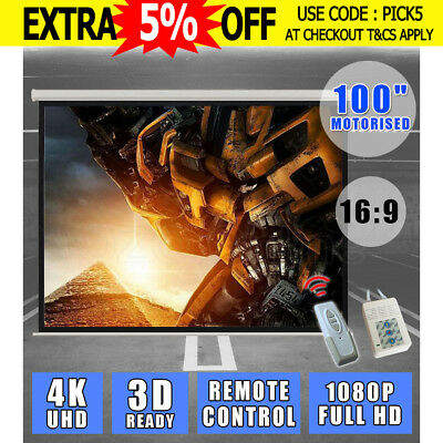 """100"""" 16:9 Electric Motorised Projector Screen Remote Wall TV Home Projection HD"""