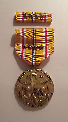 WW II Asiatic Pacific Campaign Medal With Ribbon 4 BATTLE STARS