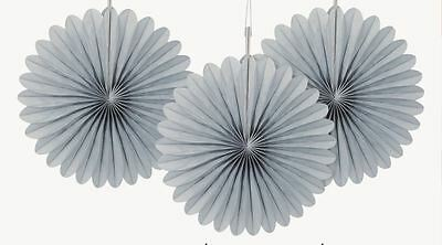3 Silver Mini Paper Tissue Fans Birthday Party Decorations Wedding Anniversary