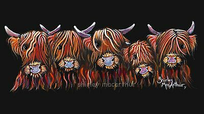 HIGHLAND COW BOX CANVAS PRINT 20x10 INCH OF Original Painting HAIRY BUNCHof COOS