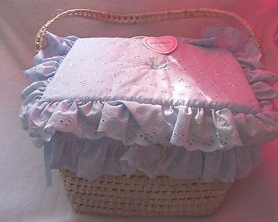 Traditional Romany Layette Basket Nappy Box Blue Broderie Anglaise  by Kinder