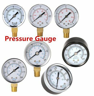 New Water and Air Pressure Gauge New 1/4 Brass Thread 0-15 PSI 0-1 Bar SS
