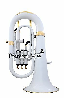 AWESOME Premier MW 4 VALVE  EUPHONIUM WHITE COLORED + brass POLISHED  WITH CASE