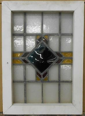"OLD ENGLISH LEADED STAINED GLASS WINDOW Nice Geometric 15.5"" x 21.5"""