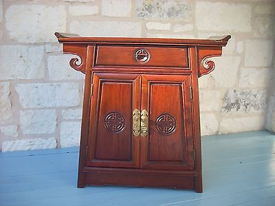 Chinese Rosewood Chest in Chinese altar style with longevity symbol and lock