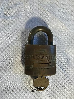 Vintage Heavy Brass Body Russwin Padlock With Key