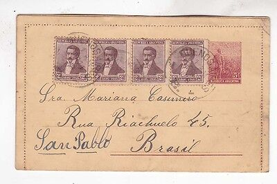 1916 5c stationery cover with four stamps from BA to brazil     h151