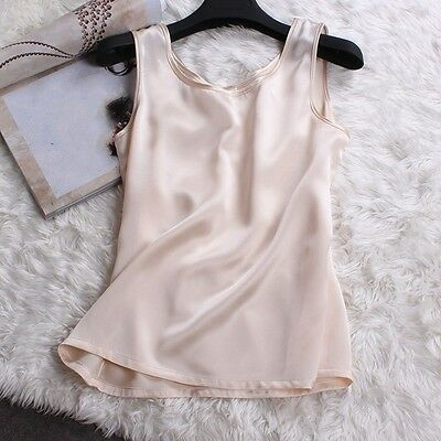 Women Sexy 100% Pure Silk Tank Sleeveless Top Knitted Vest Singlet Blouse Soft