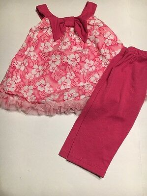 Cachcach Girl's pink floral 2 Piece Set Sleeveless Tunic Top leggings Size 4T
