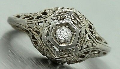 Ladies Antique Art Deco 1920s Estate 0.10ct Diamond Floral Engagement Ring