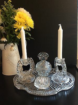 Vintage Glass Dressing Table set, Tray Candlesticks, Lidded bowl, vanity display