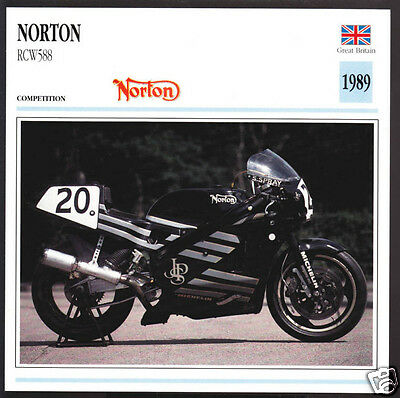 1989 Norton RCW588 Rotary Engine 588cc JPS Motorcycle Photo Spec Sheet Info Card