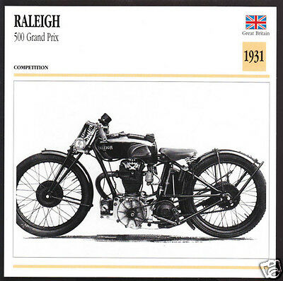 1931 Raleigh 500cc Grand Prix (495cc) Motorcycle Photo Spec Sheet Info Stat Card