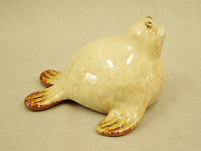 "Cute Vintage Seal, Sea Lion Figurine pottery ceramic statue 4-1/2"" tall unmarked"