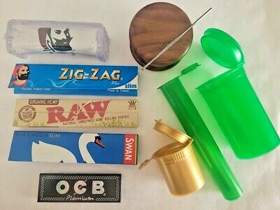 Mini TRAP Tray Bundle has a Wood Grinder, RAW Rolling Machine & Papers & Storage