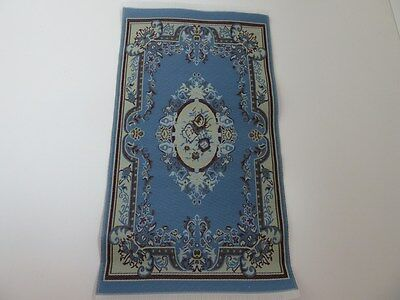 Dolls House Miniature 1:12th Scale Bedroom Lounge Blue Victorian Rug (5606)