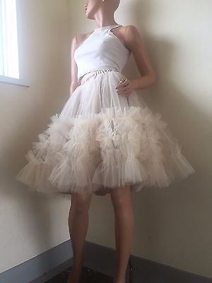 Unique Tulle Skirt Frill Ruffles Nude Beige Rockabilly Woman Tutus Petticoat S 8