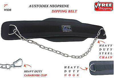 Dipping Dip Chain Belt Body Building Weight Lifting Gym Back Pull Up 7""