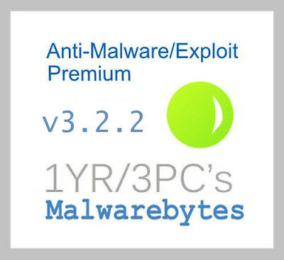 Malwarebytes AntiMalware/Exploit Premium v3.12 - 1YR/3PC's - Genuine!