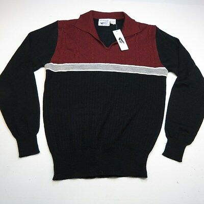 VINTAGE NEW NWT JUSTIN BLAKE KNIT POLO SWEATER SHIRT Sz Mens S Maroon & Black