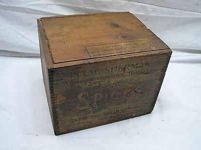 Antique Wooden Spice Shipping Box Lebanon PA Grocery Market Sherman Advertising